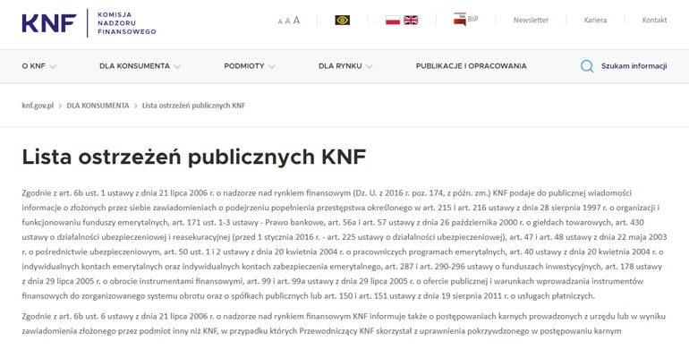 czarna lista KNF